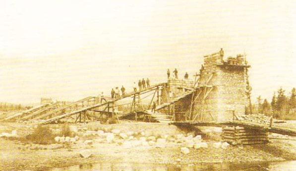 Transsiberiana. Construirea podului peste râul Bolishaia Omutnaya