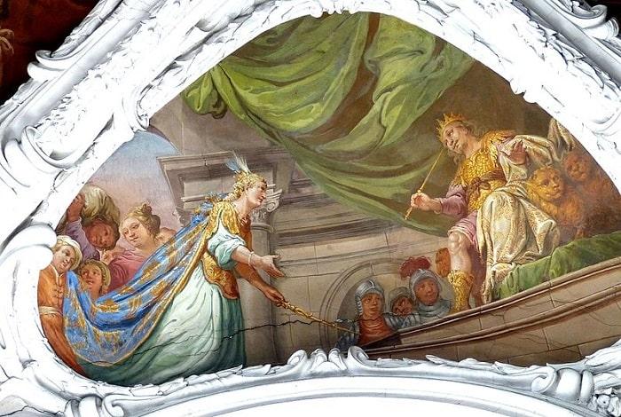 Fresca pe tavanul unei biserici gotice din Austria. Solomon primind-o pe regina din Saba