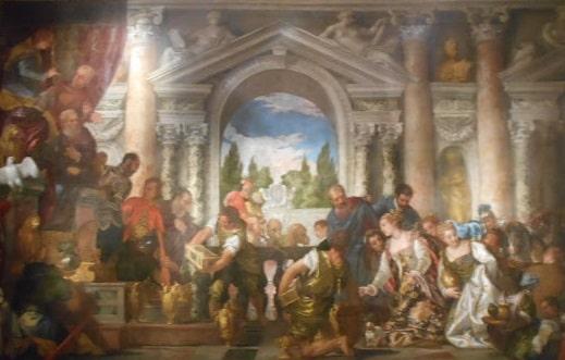 Regina din Saba oferindu-i cadouri si mirodenii regelui Solomon (Tabou de Verononese)