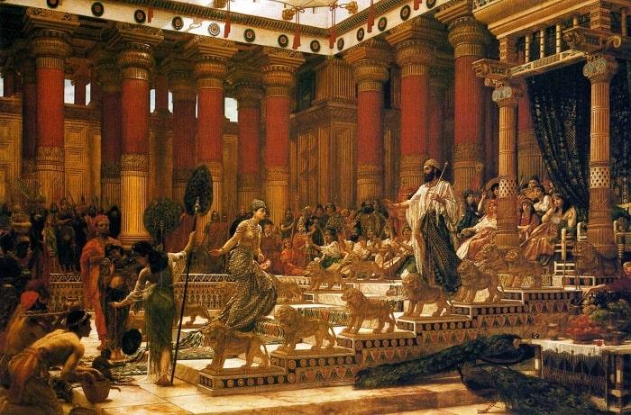 Regina din Saba venită cu daruri la regele Solomon