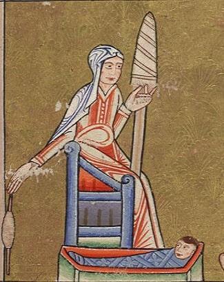 Femeie de la sat în Evul Mediu, având grijă de copil, torcând din fuior