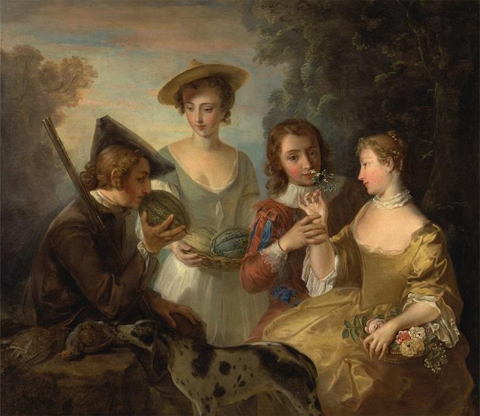 """Philippe Mercier (tablou """"Simtul mirosului"""" - 1744-1747)"""