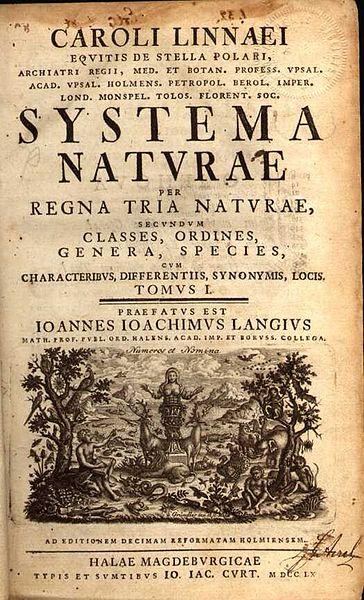 Coperta cartii:  Systema Naturae din anul 1735