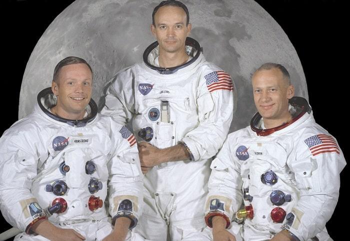Echipa Misiunii Spatiale Apollo 11. De la stanga la dreapta: Neil Armstrong, Michael Collins si Buzz Aldrin