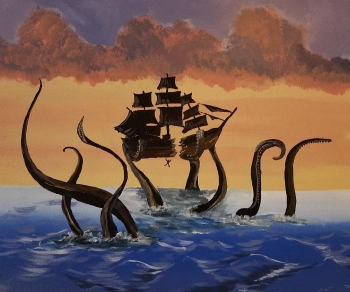 Pictura a unui Kraken rupand o corabie in doua