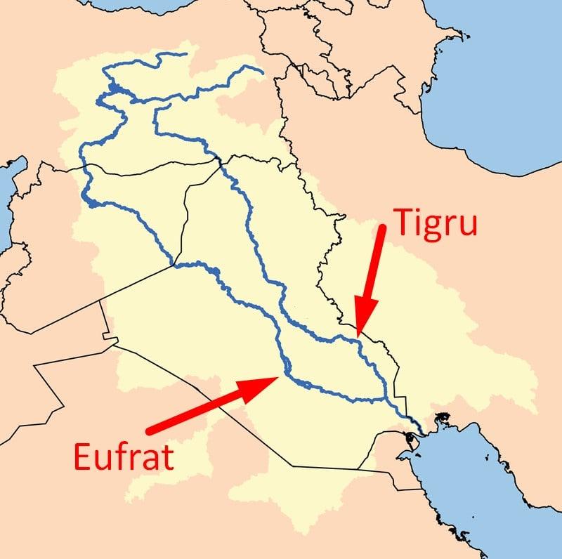 Harta rauri Tigru si Eufrat