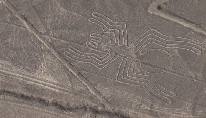 Liniile din Nazca dând forma unui paianjen