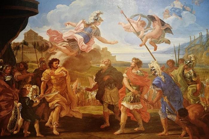 Tablou din perioada renascentistă reprezentând razboiul troian. În imagine se regasesc: Ahile, Agamemnon, zeita Atena si Nestor