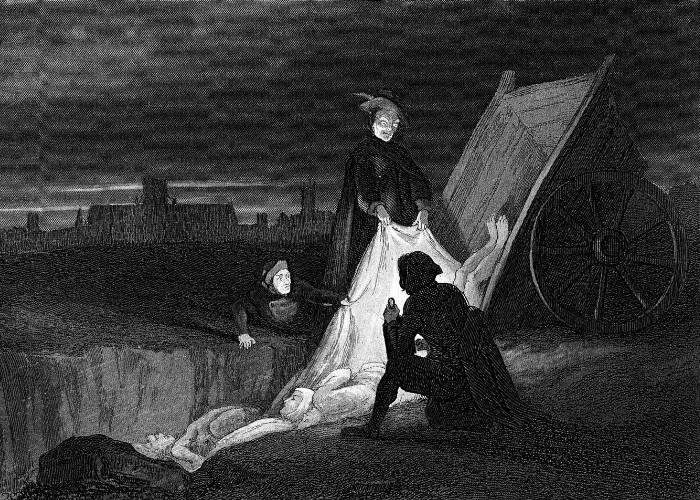 Tablou reprezentând îngroparea victimelor decedate în urma ciumei