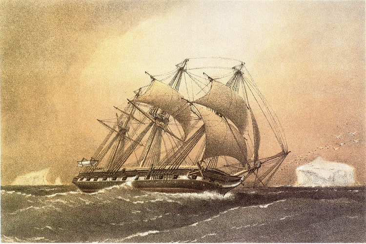 HMS Challanger (Tablou de William Frederick Mitchell - 1858)