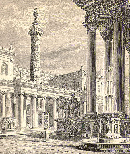 Viziune a Columnei lui Traian dispre biblioteca Ulpia