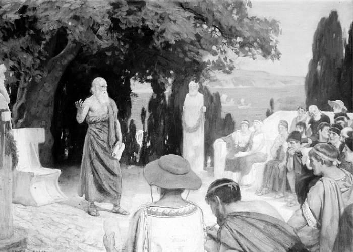 Hipocrate lecturând studenților săi