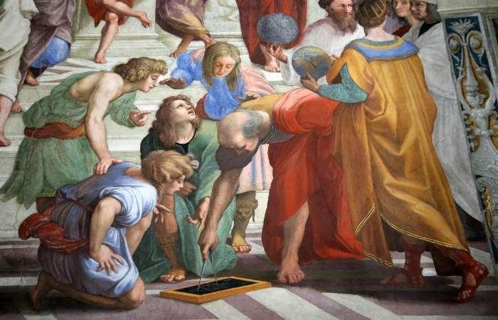 Aristotel alături de studentii săi