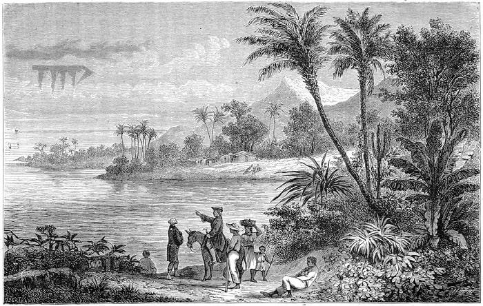 """Gravură din anul 1875 ce-l prezintă pe Etienne Bottineau explicând """"meteorii"""" pe care îi prezenta in lucrarea sa """" Nauscopie """""""