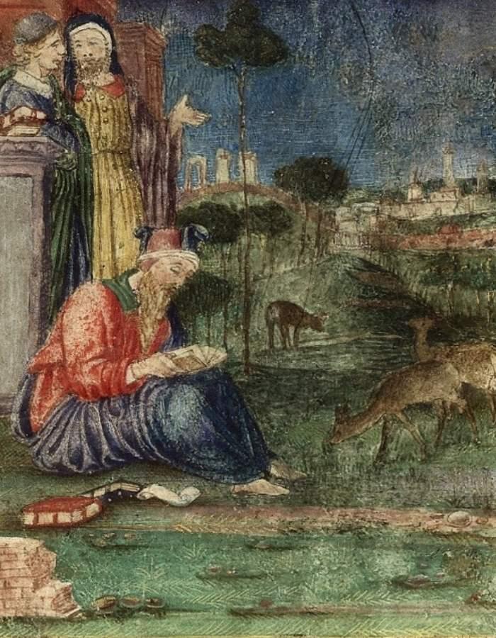 Hipocrate scriind una din cărtile ce fac parte din colecția Hipocratica
