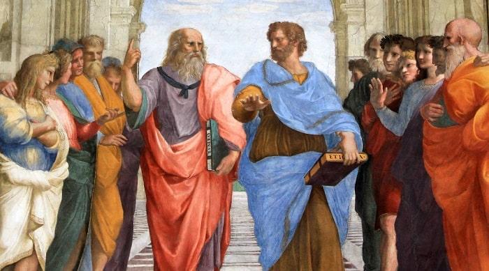 Aristotel și Platon, pe scările academiei
