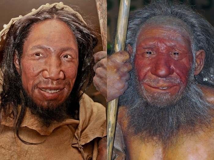 Homo Sapiens (Stânga) vs Omul de Neanderthal (Dreapta) - reconstrucții
