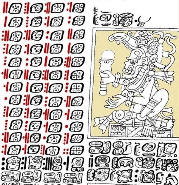 Parte dintr-o pagină din manuscrisul mayas din Dresda