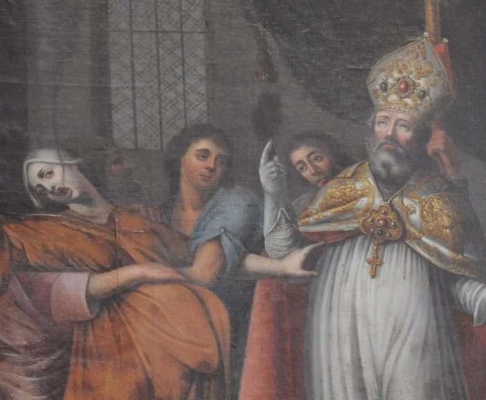 Tablou reprezentând o exorcizare în catedrala Bayeux (Franta)