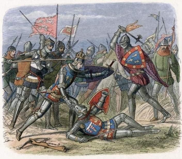 Desen ce reprezintă bătălia de la Crécy din 1346