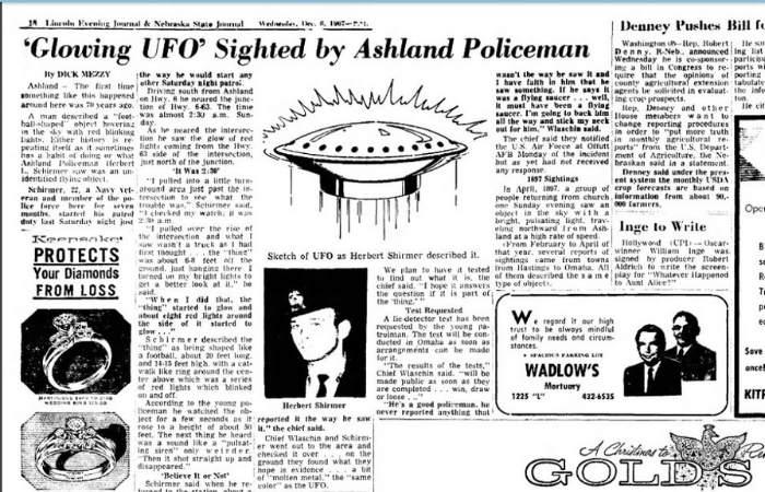 Pagina de ziar pe care a apăut știrea la nivel national în Statele Unite