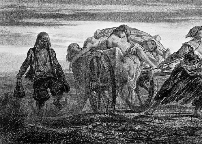 Morti de Moartea Neagră, cărați cu căruțele