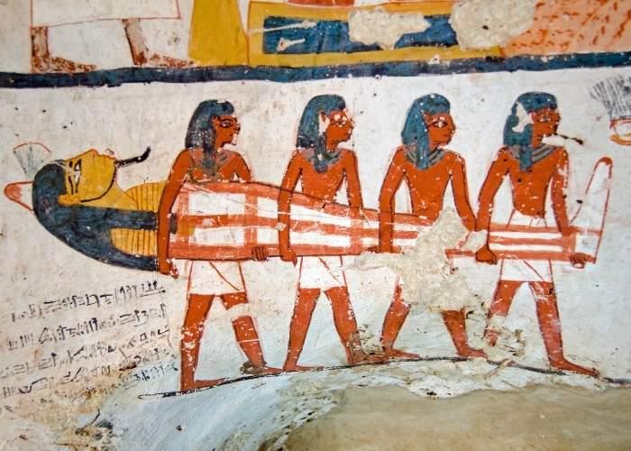 Pictură reprezentând un ritual de înmormântare din Egiptul Antic