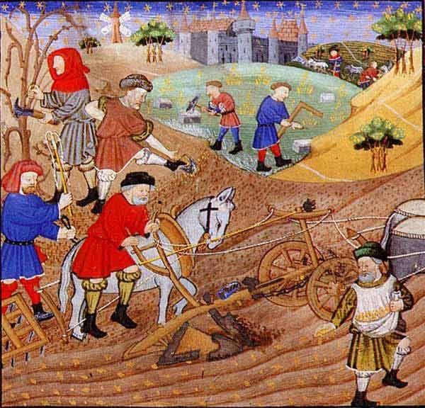 Tărani muncind pământul - Tablou de Gilles de Rome