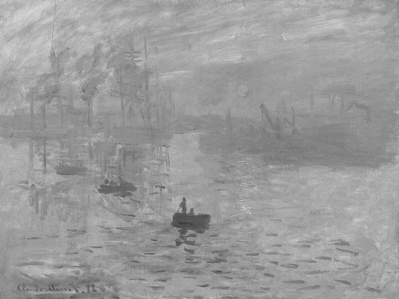 "Pictura ""Impression: Soleil Levant"" in alb-negru"