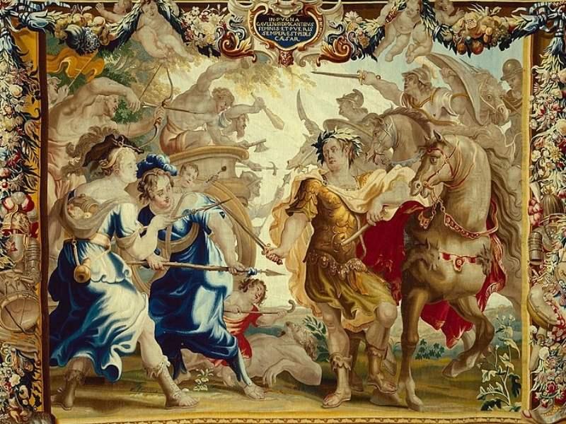 Iulius Cezar victorios în războaiele cu galii (Tablou)