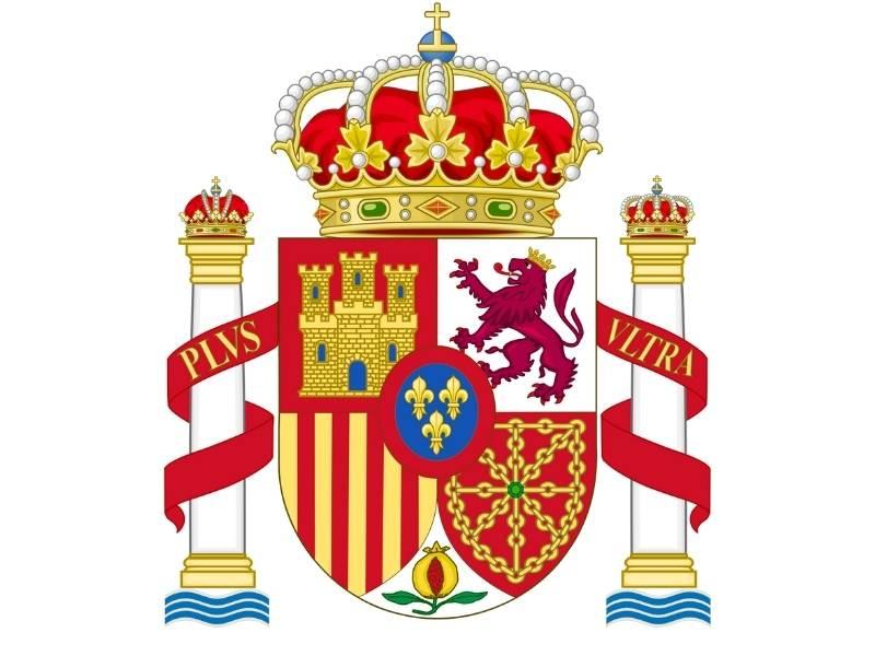 """Stema Spaniei cu cele doua coloane și inscriptia """"PLUS ULTRA"""""""