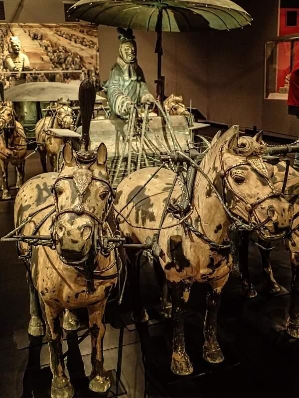 caleasca si vizitiu din  bronz- china antica
