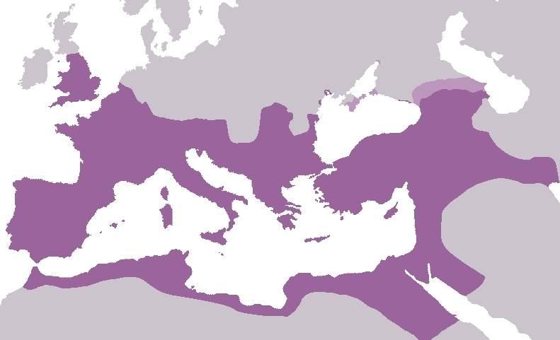 Harta a Imperiului Roman în expansiune maximă (117 d.Hr)