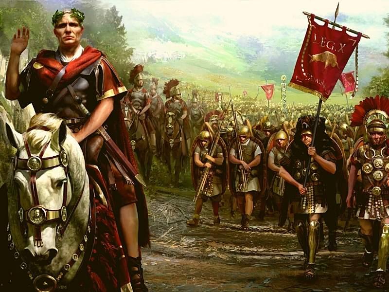 Iulius Cezar în fruntea armatei sale după ce a cucerit Galia