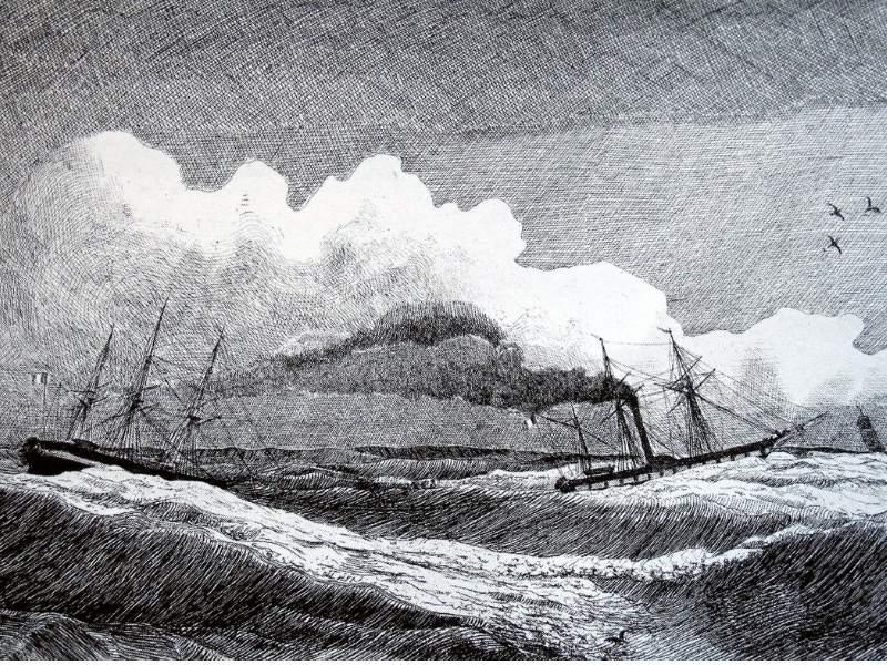 Desen din anul 1833 - simbolizand remorcarea vaporului Luxor de catre corveta Sfinx