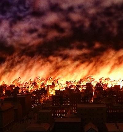 Făpturile de foc ce au mistuit orașul Chicago în anul 1878