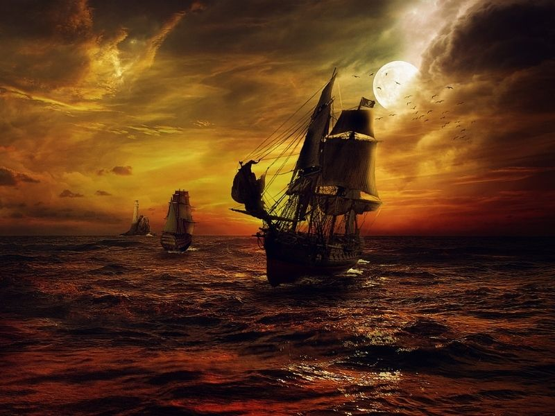 Nava de pirati atacând o navă romană