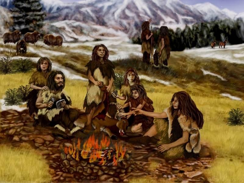 Oameni de Neanderthal in jurul focului